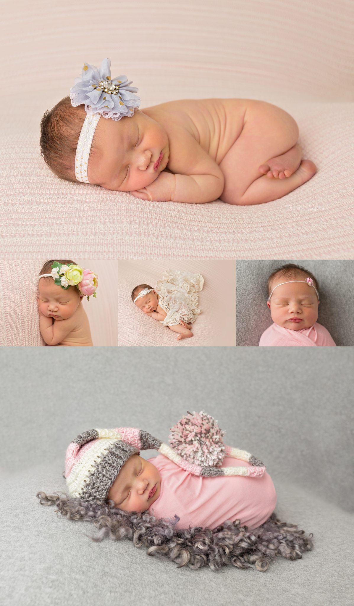 Newborn baby girl with pink gray and gold theme newborn photography session new holland pa