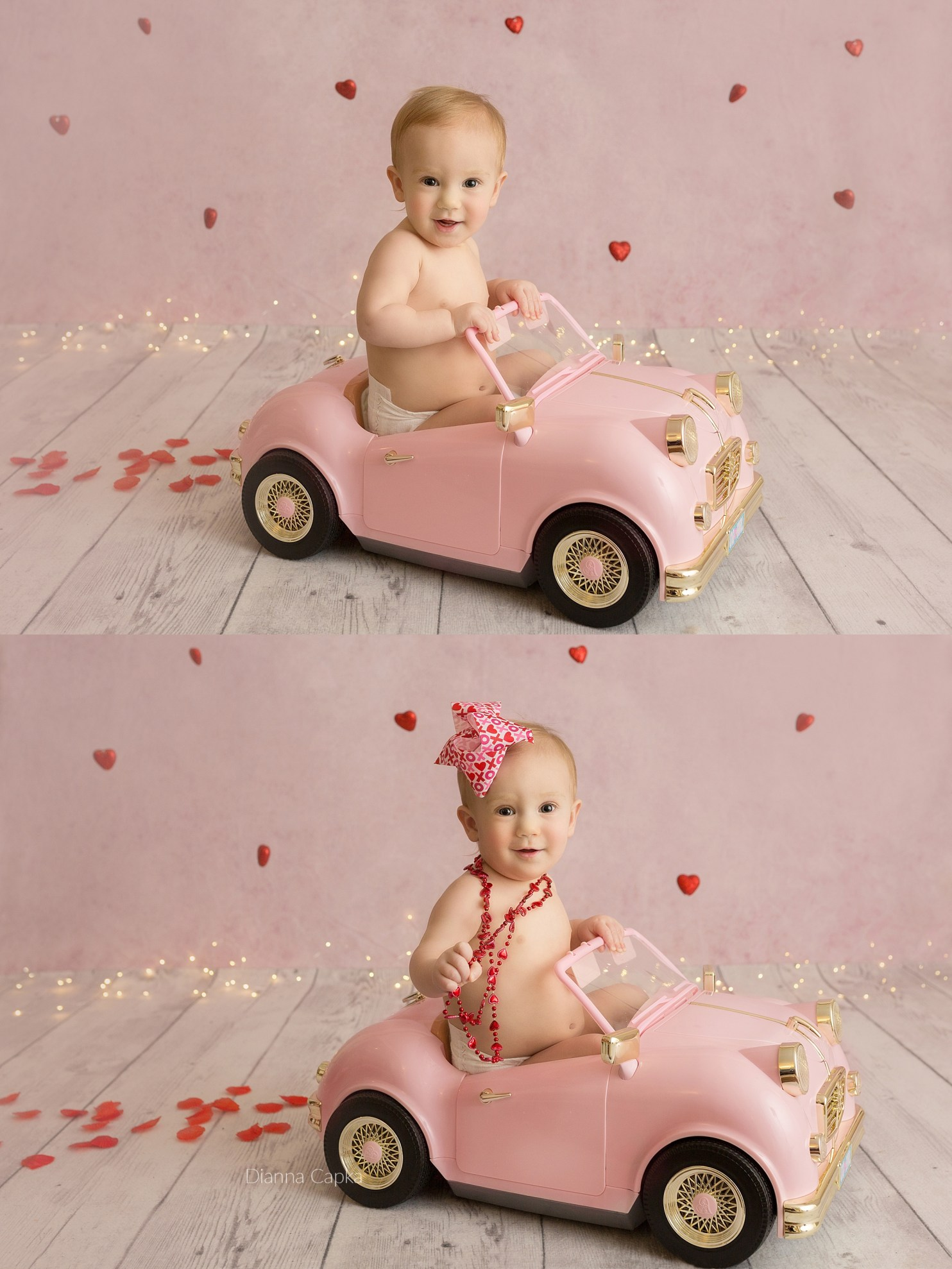 Valentine's mini session - evie best newborn baby girl prop pink car Lancaster PA baby photographer
