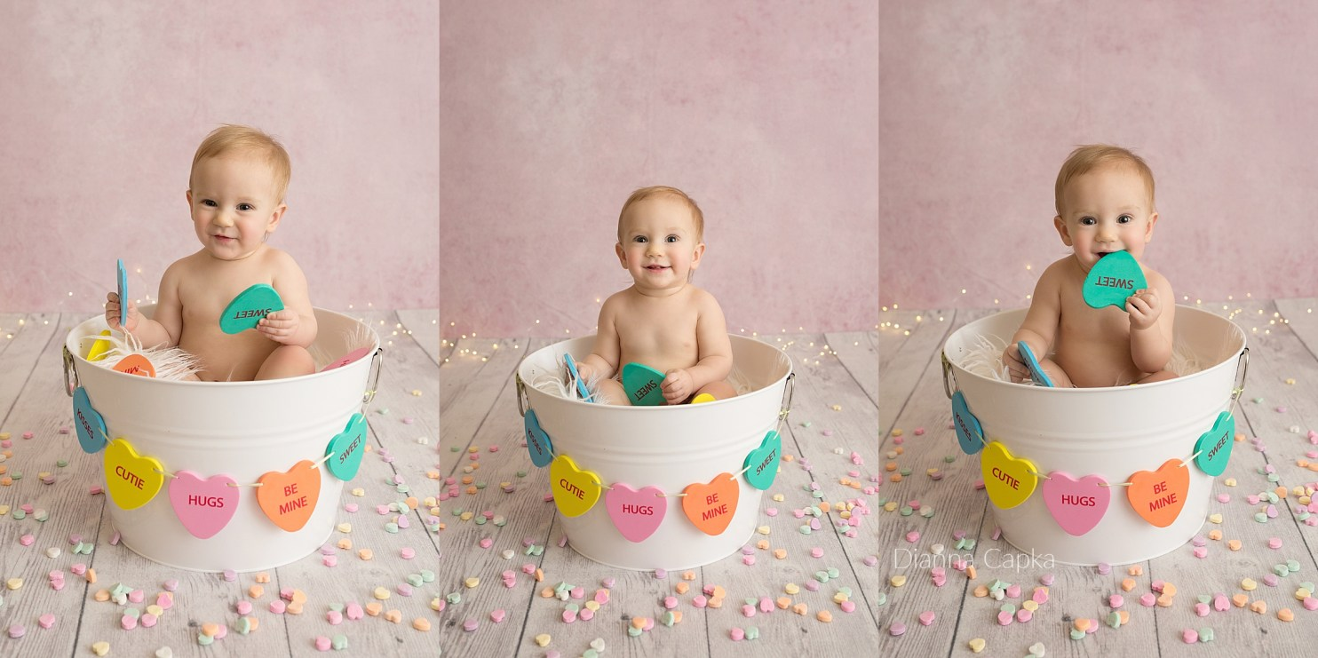 Valentine's mini session - evie conversation hearts Lancaster PA baby photographer