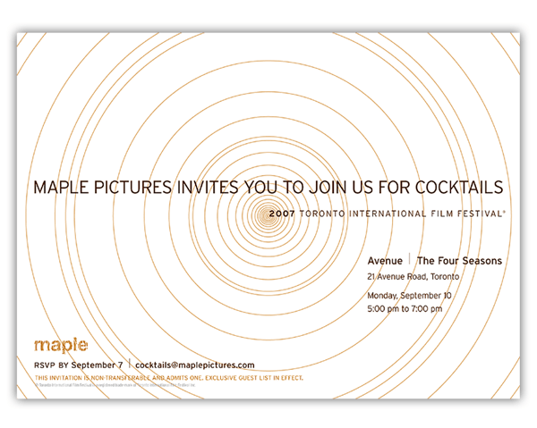 Invitation for Maple Pictures TIFF party