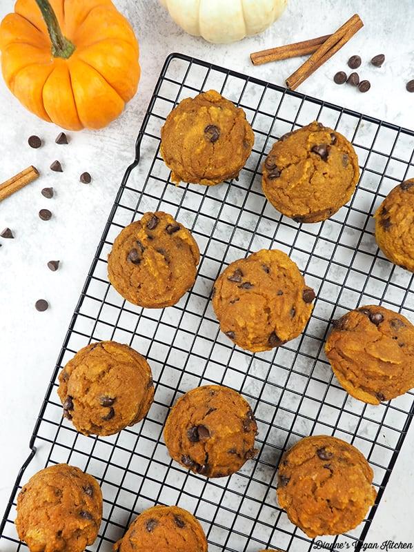 Vegan Chocolate Chip Pumpkin Muffins on cooling rack