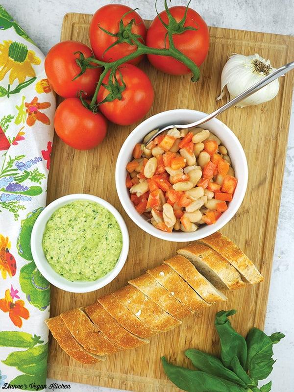 Making Pesto White Bean Bruschetta