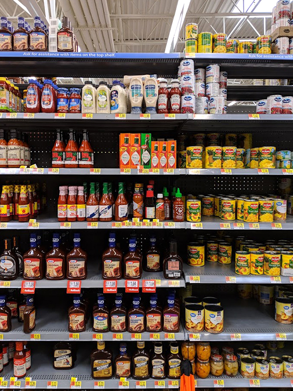 TABASCO® sauces can be found in the condiment aisle at your local Walmart.