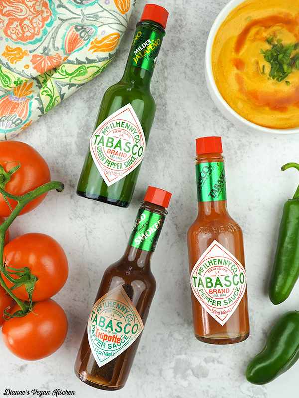 Vegan Queso with TABASCO® bottles