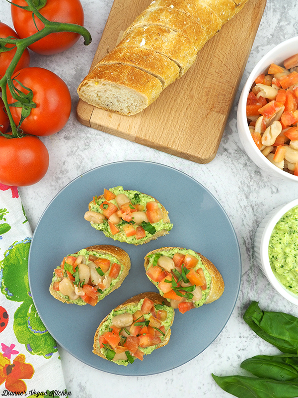 Pesto White Bean Bruschetta from What the Health by Kip Andersen and Keegan Kuhn with Eunice Wong