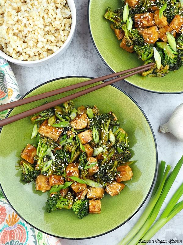Tofu Teriyaki Stir-Fry in bowls overhead