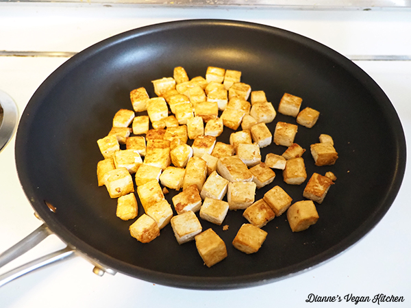 cooking tofu for Tofu Teriyaki Stir-Fry
