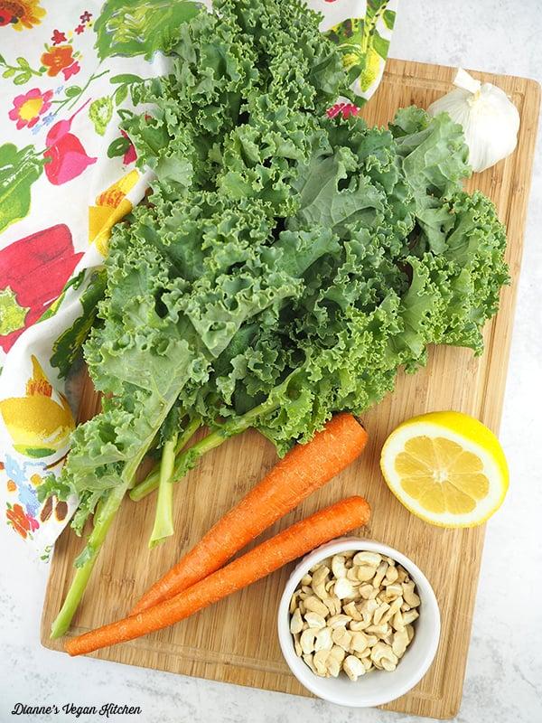 kale, carrots, cashews, lemon, garlic