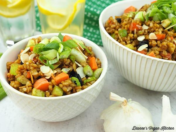 bowls of brown rice salad horizontal