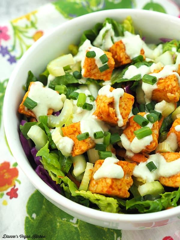 close up of buffalo tempeh salad