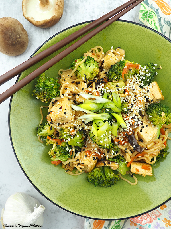 Tofu and Shirataki Noodle Stir-Fry from above close up