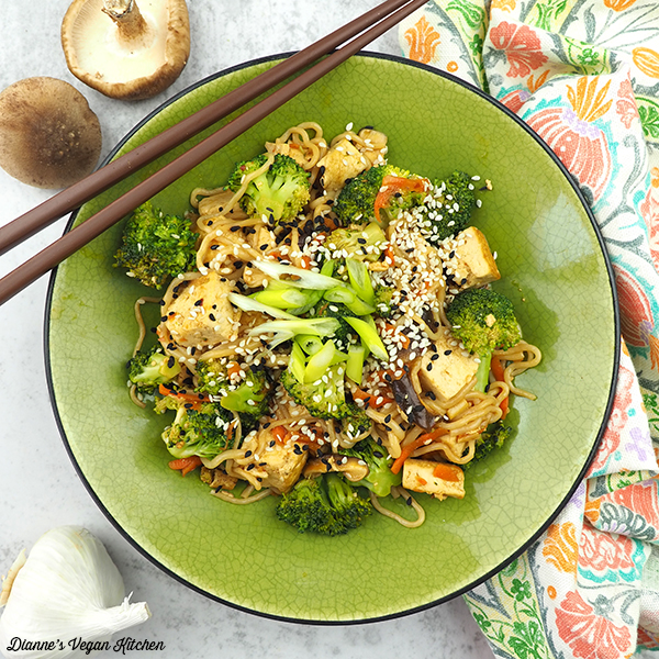 Tofu and Shirataki Noodle Stir-Fry in bowl from above square