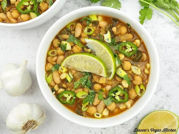 vegan white chili overhead horizontal