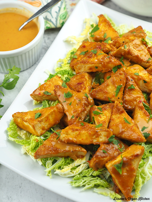 Peanut Satay Tofu Triangles from 5-Ingredient Vegan by Nava Atlas