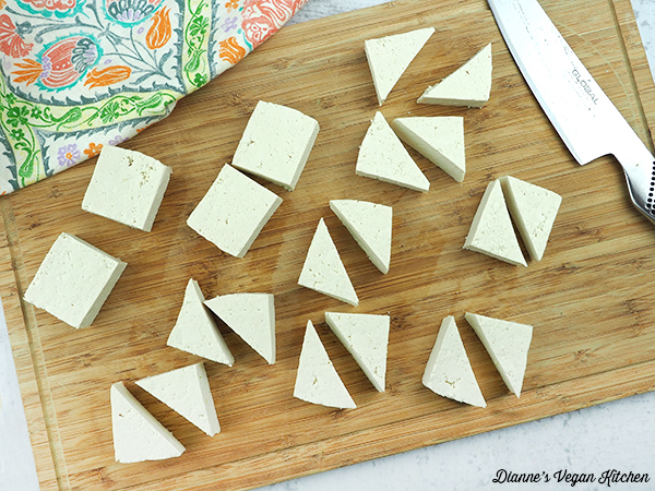 cutting tofu into triangles