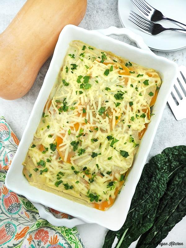 Vegan Butternut Squash Lasagna in pan from above