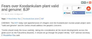 BJP on Koodankulam 2011