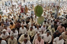 Bhavnagar: Farmers attend a protest against the proposed the 6000-MW capacity nuclear power plant scheduled to come up Mithivirdi village, at Jaspara village in Bhavnagar, Gujarat on Friday. PTI Photo  (PTI5_27_2011_000226B)