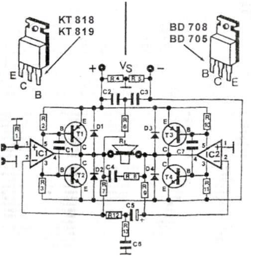 200W功率晶体管音频放大器电路_国外电子资料_电子爱好者