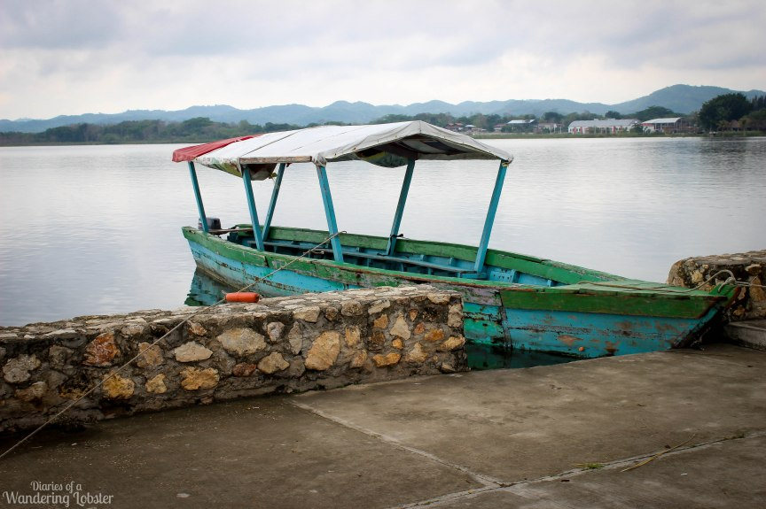 A fishing boat docked on the streets of Flores