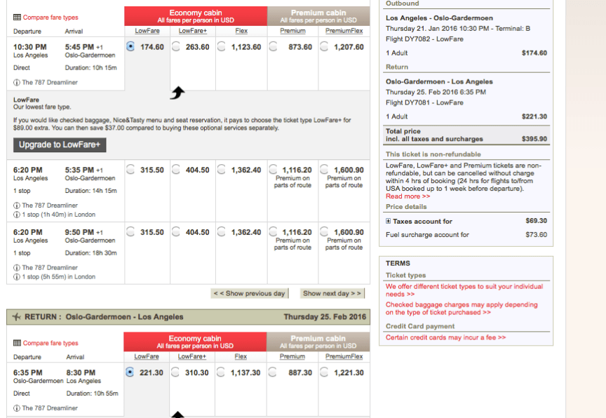 Norwegian Air how to find cheap flights