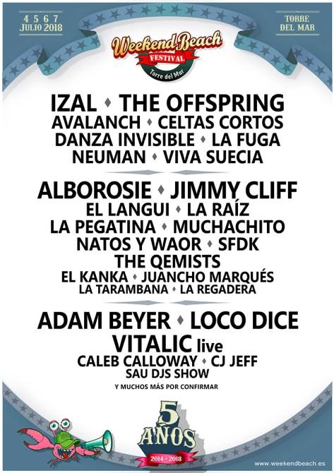 The Offspring, Jimmy Cliff, Izal y Adam Beyer, actuarán en el Weekend Beach Festival de Torre del Mar 2018
