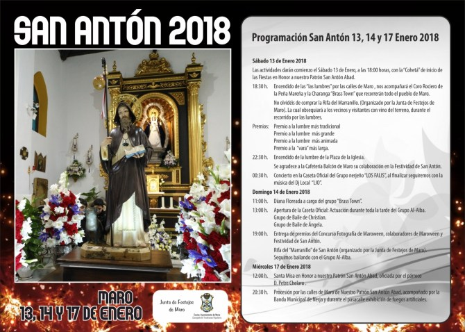 Maro celebra la festividad de su patrono San Antón los próximos 13, 14 y 17 de enero