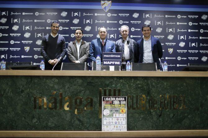 Rueda de prensa celebrada hoy en el Estadio La Rosaleda que ha comenzado con un emotivo minuto de silencio en memoria de Nacho Pérez Frías.