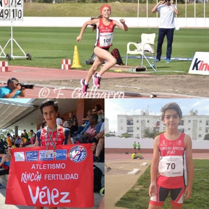 Trío del Club Atletismo Vélez en el Campeonato de España sub14