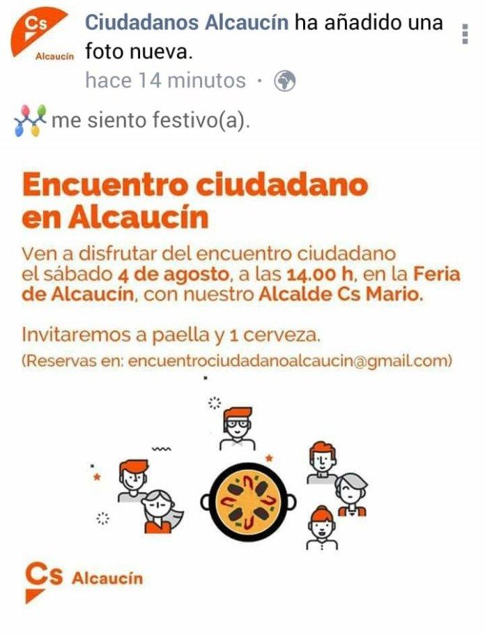 El PP de Alcaucín acusa a Cs de organizar un acto de partido pagado por el Ayuntamiento