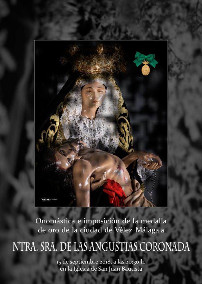 El acto de imposición de la Medalla de Oro de la Ciudad de Vélez-Málaga a Las Angustias Coronada será el 15 de septiembre