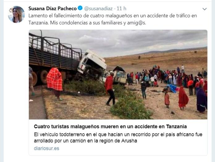 Susana Díaz expresa su dolor por los malagueños fallecidos en accidente de tráfico en Tanzania
