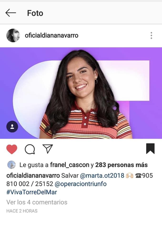 La cantante malagueña Diana Navarro pide el apoyo para que Marta Sánchez 'Sango' siga en Operación Triunfo