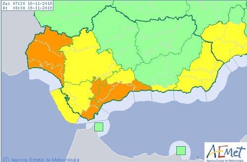 Activado el aviso naranja en Málaga por fuertes lluvias este domingo