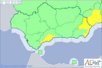 Aemet desactiva el aviso amarillo por lluvia hoy jueves en Málaga