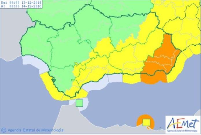 Alerta amarilla por fuertes vientos en toda la provincia de Málaga