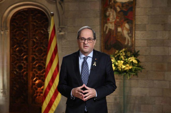 Torra llama a los catalanes a «sublevarse» en su mensaje de Fin de Año