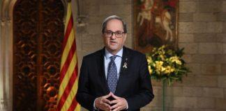 El presidente de la Generalitat, Quim Torra, durante su mensaje de fin de año.