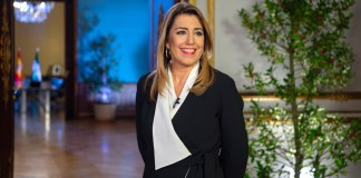 Susana Díaz antes de comenzar su Mensaje de Fin de Año 2018.