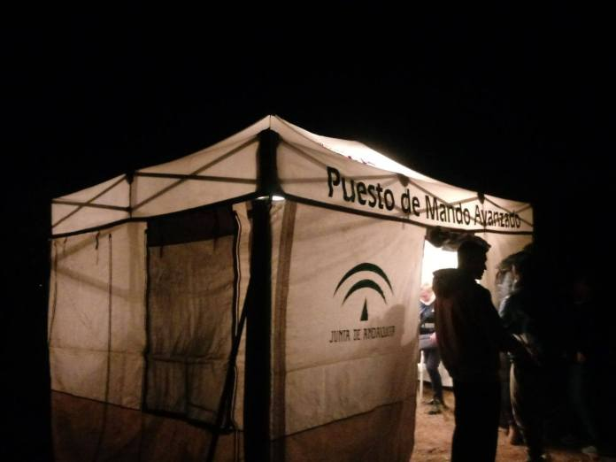 Imagen de la carpa habilitada por el GREA -Grupo de Emergencias de Andalucía- para la atención de los familiares. / 112.