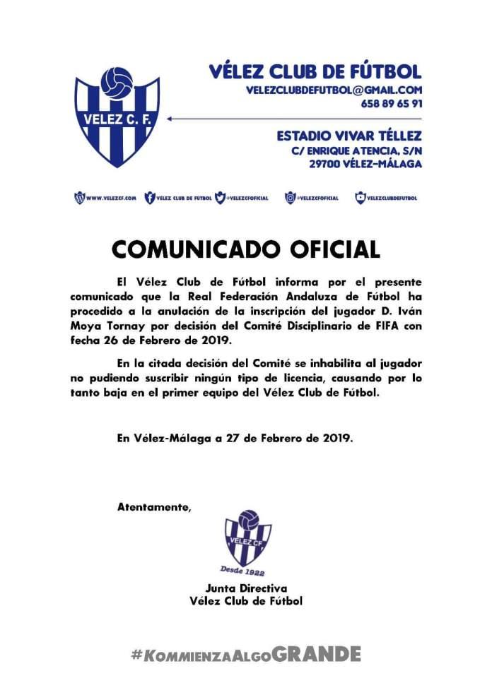 La Federación fulmina al jugador del Vélez Iván Moya