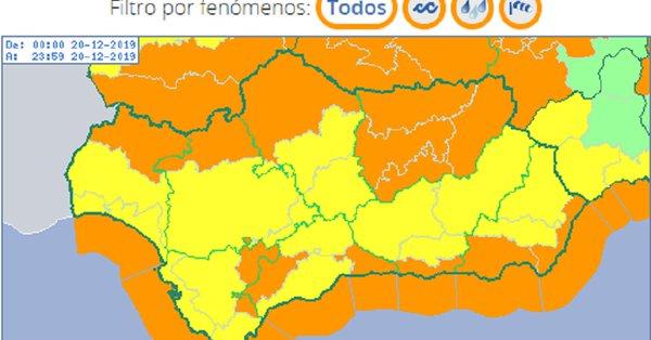 Previstos avisos naranjas y amarillos por viento y lluvia en todas las provincias andaluzas