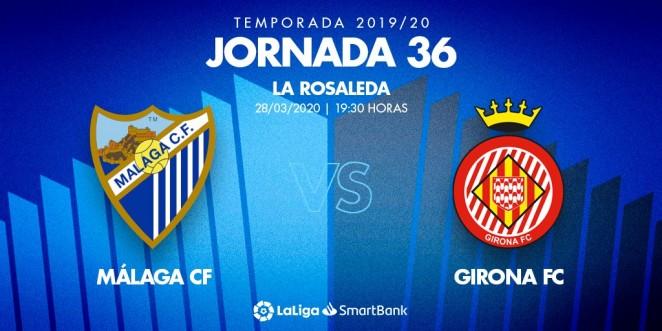 El Málaga-Girona, el domingo 28 a las 19:30 horas