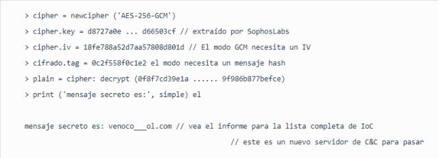 Mensaje final al aplicar la clave de descifrado AES de 256 bits