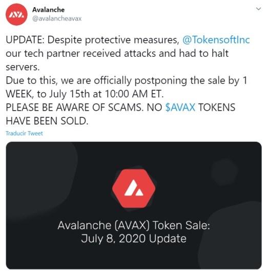 Anuncio de AVA Labs vía Twitter