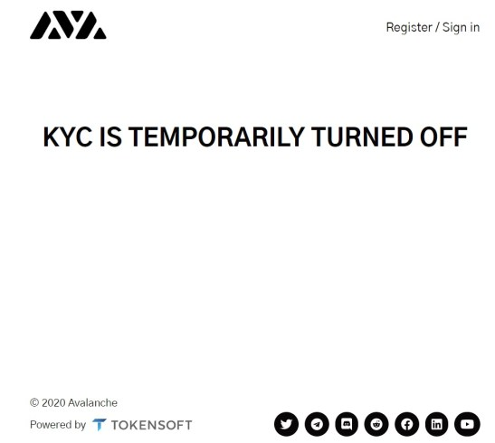Mensaje en la página oficial de AVA Labs