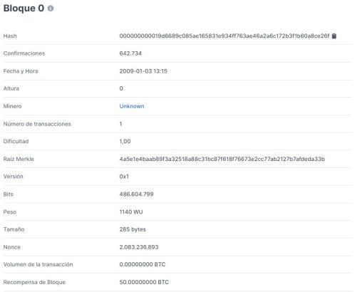 Datos del primer bloque minado en la red Bitcoin. Imagen de Blockchain.com