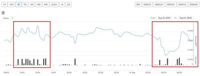Evolución precio de Bitcoin este 13 de agosto. Imagen de CriptoMercados DiarioBitcoin