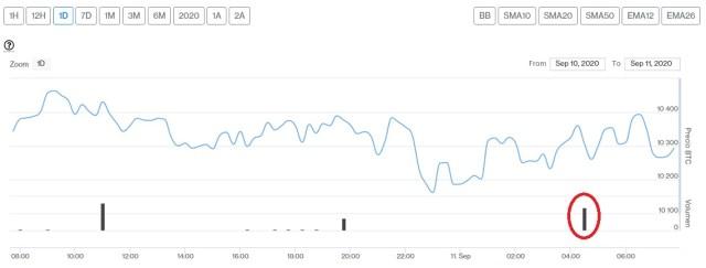 Evolución precio de Bitcoin este 11 de septiembre. Imagen de CriptoMercados DiarioBitcoin