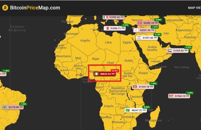 Precio Bitcoin Nigeria BitcoinPriceMap